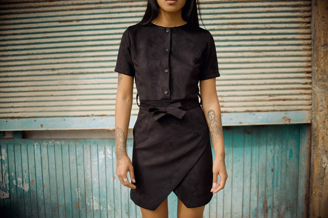 Robe en daim, Suede dress, eco friendly suede dress, upcycling dress, LaCerf Dresse, robe tissu reyclé LaCerf cadeau de Noel femme
